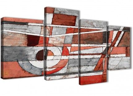Large Red Grey Painting Abstract Bedroom Canvas Wall Art Decor - 4401 - 130cm Set of Prints