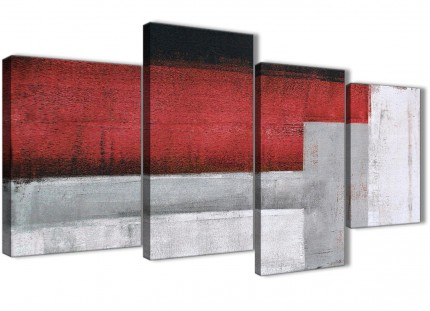 Large Red Grey Painting Abstract Bedroom Canvas Pictures Decor - 4428 - 130cm Set of Prints