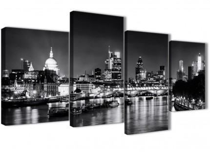 Large River Thames London Skyline Canvas Wall Art - Cityscape - 4430 Black White Grey - 130cm Set of Pictures