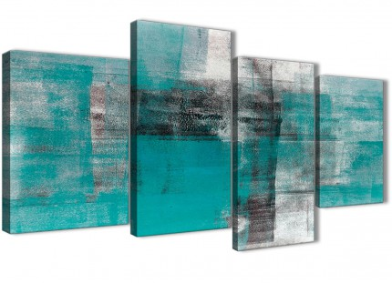 Large Teal Black White Painting Abstract Bedroom Canvas Pictures Decor - 4399 - 130cm Set of Prints