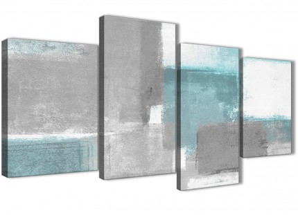 Large Teal Grey Painting Abstract Living Room Canvas Pictures Decor - 4377 - 130cm Set of Prints