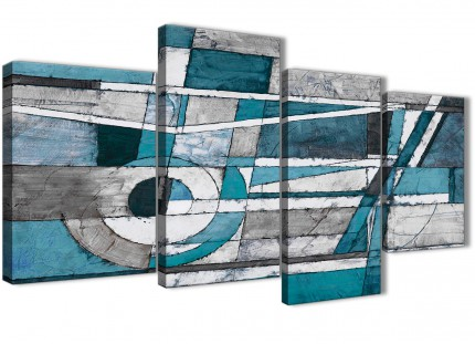 Large Teal Grey Painting Abstract Bedroom Canvas Pictures Decor - 4402 - 130cm Set of Prints