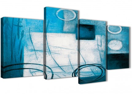 Large Teal White Painting Abstract Bedroom Canvas Wall Art Decor - 4432 - 130cm Set of Prints