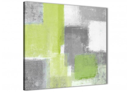 Lime Green Grey Living Room Canvas Pictures Decorations - Abstract 1s369m - 64cm Square Print