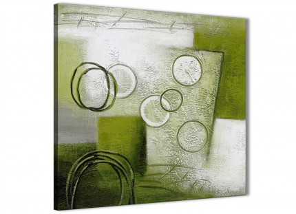 Lime Green Painting Kitchen Canvas Wall Art Decorations - Abstract 1s434m - 64cm Square Print