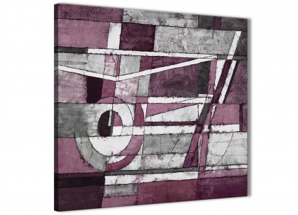 Plum Grey White Painting Hallway Canvas Wall Art Decorations - Abstract 1s408m - 64cm Square Print