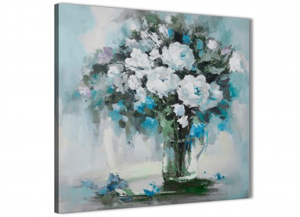 Teal White Flowers Painting Stairway Canvas Wall Art Decorations - Abstract 1s440m - 64cm Square Print