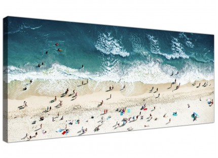 Large Ocean Beach Themed Scene Gold Coast Beach Modern Canvas Art - 120cm - 1245