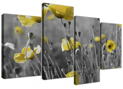 Yellow Grey Poppy Flower - Poppies Floral Canvas - Split 4 Piece - 130cm - 4258