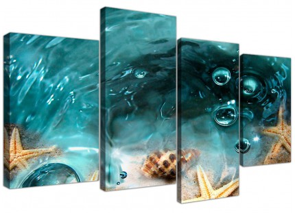 Teal Bathroom Sea Shells Starfish Beach Canvas - Multi Set of 4 - 130cm - 4253