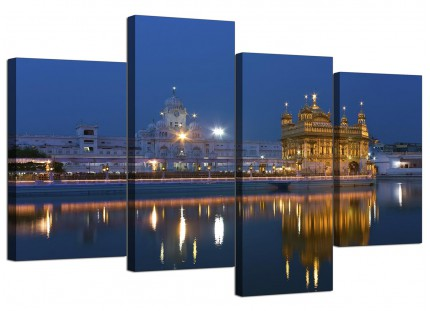Sikh Golden Temple Amritsar - Blue Canvas - Split 4 Panel - 130cm - 4196