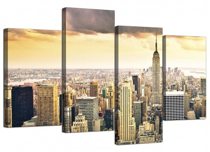 New York Manhattan Skyline Yellow Grey City Canvas - Set of 4 - 130cm - 4201