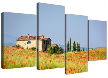 Large Green and Blue Tuscan Red Poppy Fields - Canvas Wall Art Prints