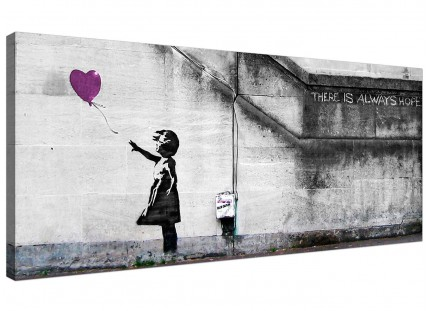 Large Banksy Balloon Girl Plum Heart Hope Modern Canvas Art - 120cm - 1224