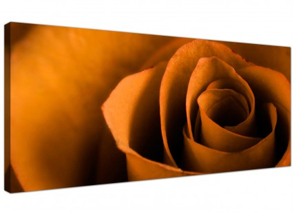 Large Orange Black Rose Petal Flower Floral Modern Canvas Art - 120cm - 1141