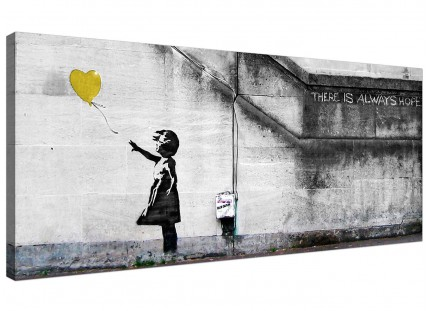 Large Banksy Balloon Girl Yellow Heart Hope Modern Canvas Art - 120cm - 1221