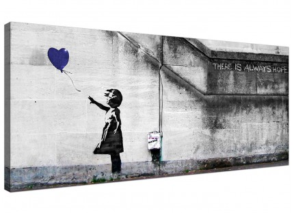 Large Banksy Balloon Girl Blue Heart Hope Modern Canvas Art - 120cm - 1226