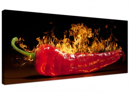 Large Red Hot Chilli Pepper Flaming Black Kitchen Canvas Art - 120cm - 1132