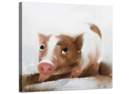 Canvas Pictures for Baby Girls Room -  Cute Piglet