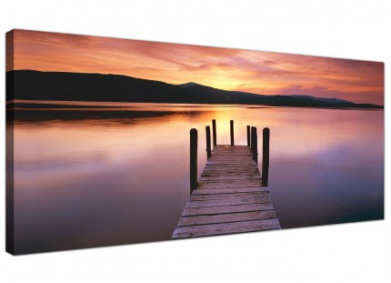 Large Sunset Jetty Derwent Water Lake Purple Landscape Canvas Art - 120cm - 1214