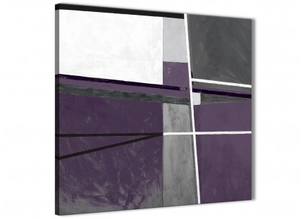 Aubergine Grey Painting Abstract Bedroom Canvas Pictures Decor 1s392l - 79cm Square Print