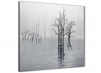 Black White Grey Tree Landscape Painting Office Canvas Pictures Accessories 1s416l - 79cm Square Print