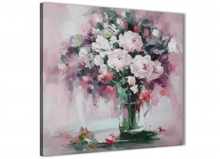 Blush Pink Flowers Painting Abstract Office Canvas Pictures Accessories 1s441l - 79cm Square Print
