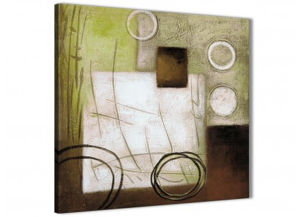 Brown Green Painting Abstract Bedroom Canvas Wall Art Decorations 1s421l - 79cm Square Print