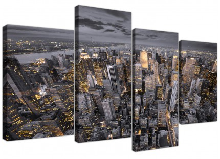 Black White Yellow New York Skyline Cityscape Canvas - Set of 4 - 130cm - 4269