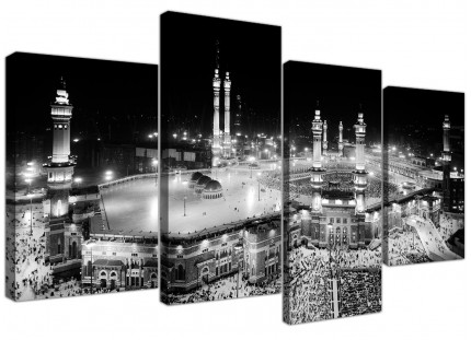 Large Black and White Islamic Mecca Temple - Multi 4 Panel 130cm Wide