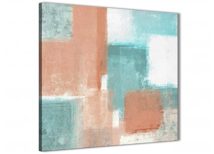 Coral Turquoise Abstract Hallway Canvas Wall Art Accessories 1s366l - 79cm Square Print
