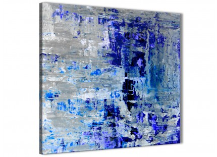Indigo Blue Grey Abstract Painting Wall Art Print Canvas - Modern 79cm Square - 1s358l