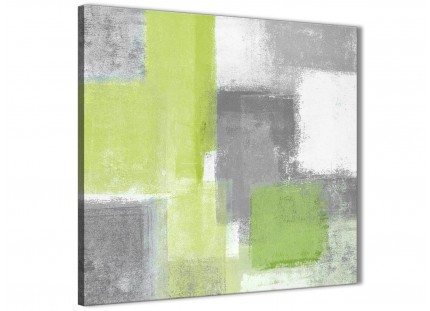 Lime Green Grey Abstract Living Room Canvas Wall Art Decor 1s369l - 79cm Square Print