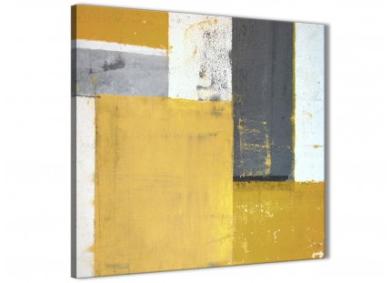 Mustard Yellow Grey Abstract Painting Canvas Wall Art Print - Modern 49cm Square - 1s340s