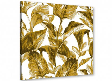 Mustard Yellow White Tropical Leaves Canvas Wall Art Print - Modern 49cm Square - 1s318s