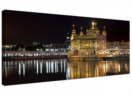 Large Sikh Golden Temple Amritsar Night Modern Canvas Art - 120cm - 1195
