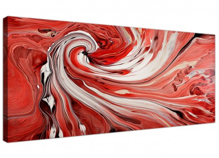 Red and White Spiral Swirl - Abstract Canvas Modern 1 Piece - 120cm Wide