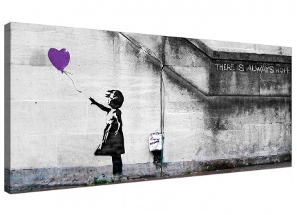 Large Banksy Balloon Girl Purple Heart Hope Modern Canvas Art - 120cm - 1223