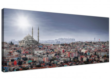 Large Istanbul Skyline - Islamic Mosque Cityscape Canvas Art - 120cm - 1274