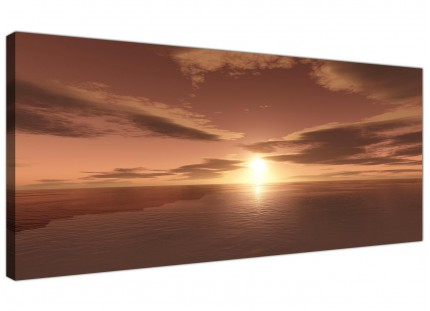 Brown Ocean Sunrise - Modern Seascape Canvas Wall Art - 120cm Wide Prints