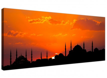 Large Istanbul Skyline Sunset - Blue Mosque Landscape Canvas Art - 120cm - 1205