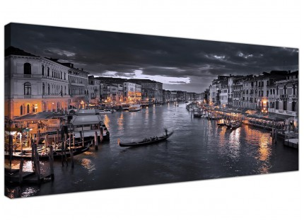 Large Venice Italy Gondola Black White Cityscape Canvas Art - 120cm - 1229
