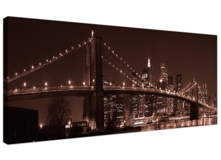 Large Brown Brooklyn Bridge New York Skyline City Canvas Art - 120cm - 1122