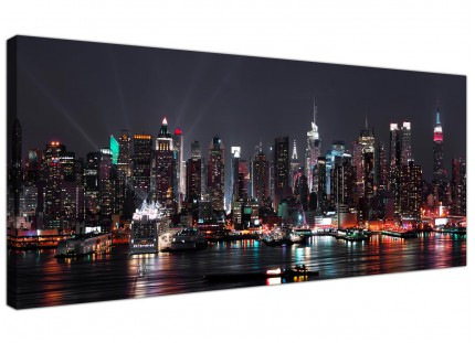 Large New York City Skyline - Black White Cityscape Canvas Prints - 120cm - 1187