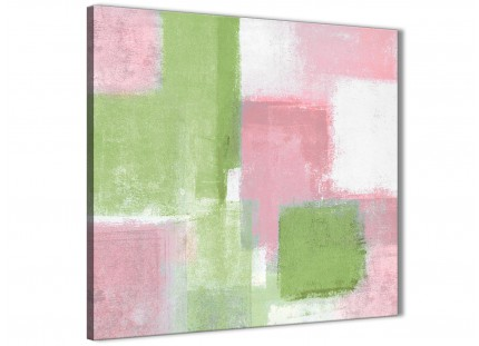 Pink Lime Green Abstract Dining Room Canvas Wall Art Decor 1s374l - 79cm Square Print
