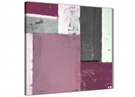 Plum Grey Abstract Painting Canvas Wall Art Picture - Modern 64cm Square - 1s342m