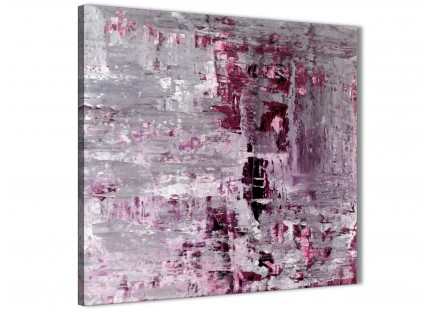 Plum Grey Abstract Painting Wall Art Print Canvas - Modern 49cm Square - 1s359s