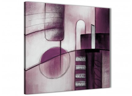 Plum Grey Painting Abstract Bedroom Canvas Wall Art Accessories 1s420l - 79cm Square Print