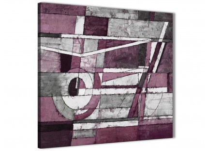 Plum Grey White Painting Abstract Dining Room Canvas Wall Art Decor 1s408l - 79cm Square Print