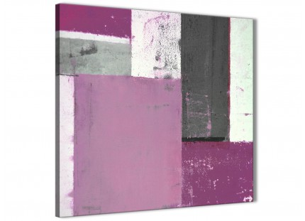 Purple Grey Abstract Painting Canvas Wall Art Picture - Modern 64cm Square - 1s355m